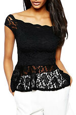Allover Lace Extreme Peplum Top LC25137 fall fashion women casual t shirt winter