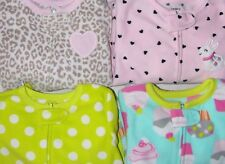 CARTERS GIRLS FOOTED SLEEPER PAJAMAS MICROFLEECE CUPCAKES BUNNY PJS 12m 18m 24m