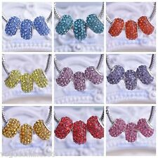 5pcs Crystal Rhinestone Silver Plated Charm Big Hole Beads fit European Bracelet