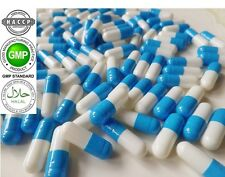 """WHITE-BLUE"" Empty Vegetable GELATIN Pill Capsules Size 1(250mg)REFILLING POWDER"