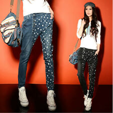 Vogue Womens Desim Stars Harem Punk Destroyed Comfy Soft Pencil Jeans Plus Sz
