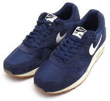 2014NIKE MEN AIR MAX 1 ESSENTIAL Navy Blue/White/Black 537383-411 Suede Pack