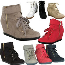 New Fashion Womens Lace Up Velcro High Top Ankle Wedge  Sneaker Shoes Booties