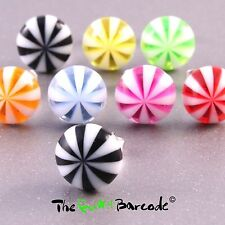 FUNKY BOYS MENS CANDY STRIPE STUD EARRING SINGLE 10MM QUIRKY KITSCH COOL RETRO