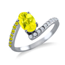 1.19 Ct Oval Canary Mystic Topaz Canary Diamond 925 Sterling Silver Ring