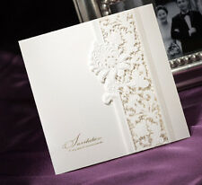 Delicate Ivory Lace Wedding Invitation Cards Marriage With Envelopes and Seals