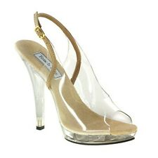 Women's May Clear Taupe Nude Slingback Platform Sandal Prom Pageant Bridal Shoe