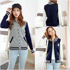 School Style Girls Knitting Shirt Striped Hit Color Spliced Collared Cardigan S