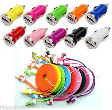 USB CAR CHARGER + FLAT Data CHARGING CABLE CORD for iPHONE 4S 4 3G IPOD TOUCH 4