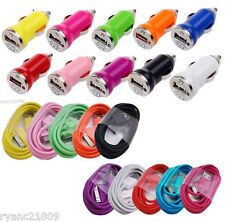 USB CAR CHARGER + 3/6/10 FT Data CHARGING CABLE CORD for iPHONE 4S 4 IPOD TOUCH