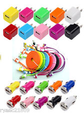 USB WALL + CAR ADAPTER + 3/6/10 FT FLAT Data CHARGING CABLE CORD for iPHONE 4S 4