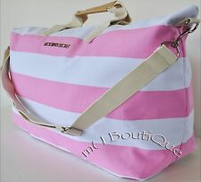 1 NEW VICTORIA SECRET PINK WHITE STRIPE GETAWAY DUFFEL TRAVEL GYM BAG TOTE $99!