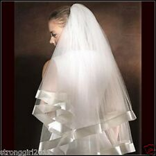 FACTORY OUTLET CENTER WHITE/IVORY/CHAMPAGNE/RED 2LAYER WIDE RIBBON WEDDING VEILS