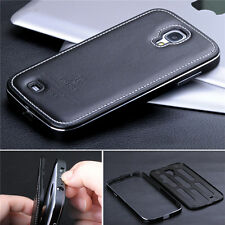 New Super Luxury Aluminum Cow Leather Case Cover For Samsung Galaxy S4 IV i9500