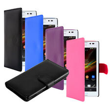 Leather Flip Wallet Case Cover For Sony Xperia E (C1505) FREE Screen Protector
