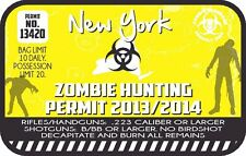 New York Zombie Hunting Permit Vinyl Wall Decal or Car Sticker
