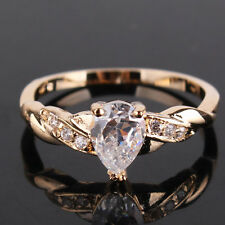 18K gold filled  White swarovski crystal pear  engagement band ring Sz5-Sz9