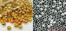 500pcs Silver/Gold Plated Copper Rondelle Crimp End Spacer Beads 2/2.5/3mm