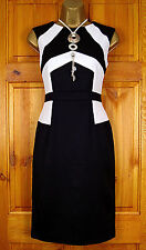 NEW TOPSHOP LADIES BLACK WHITE VINTAGE STYLE PARTY OFFICE DRESS UK SIZE 8 - 16