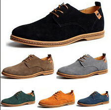 New Mens Casual/Dress Formal Oxfords Flats Shoes Genuine Suede Leather Lace Up Z
