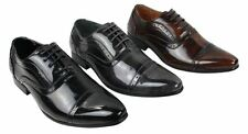 Mens Black Grey Brown Shiny Patent Designer Pointed Brogues Shoes Laced