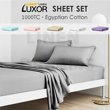 1000TC EGYPTIAN COTTON SHEET SET QUILT DUVET DOONA COVER FITTED FLAT- ALL SIZE