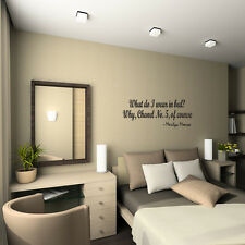 WHAT DO I WEAR IN BED? ~ Wall Quote Decal Marilyn Monroe Bedroom Decor Lettering
