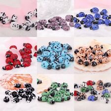 10pcs candy color lampwork glass spot ladybug animals spacer beads 11x17mm