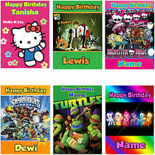 PERSONALISED CHILDRENS BIRTHDAY CARDS LARGE A5, FREE 1st CLASS POSTAGE