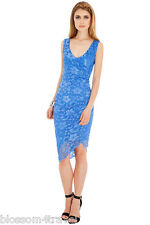 Blue Scalloped Asymmetric Hem Lace Fitted Wiggle Cocktail Party Evening Dress