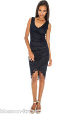 Navy Scalloped Asymmetric Hem Lace Fitted Wiggle Cocktail Party Evening Dress