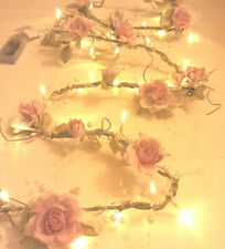 NEW CHIC PEARL Rose Garland with 30 LED Light Pale Pink/Cream Wedding Decoration