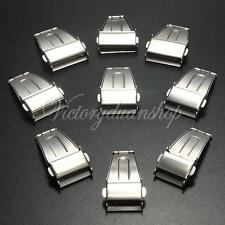 New Stainless Steel Watch Band Strap Push Button Deployment Clasp Buckle 16-24mm
