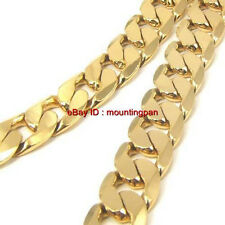 Classic Solid 24k 24ct Yellow Gold Filled Mens Necklace Curb Chain Jewelry Free