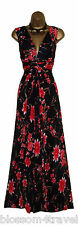 Long Black/Red Floral Print Grecian Knot Panel Maxi Evening Dress Day/Evening