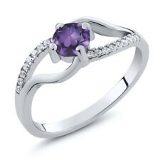 0.67 Ct Round Natural Purple Amethyst 925 Sterling Silver Ring
