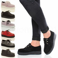 WOMENS LADIES FLAT PLATFORM FLATFORM WEDGE LACE UP PUNK CREEPERS SHOES BOOT SIZE