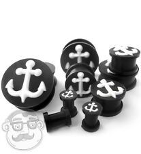 Pair of Black Silicone 3D Anchor Ear Plugs / Gauges (2G - 1 Inch) Double Flare