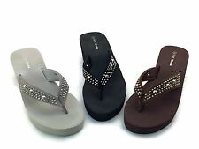 Women fashion Rhinestone Flip Flops Sandals Platform Wedge Heels Thong style
