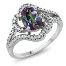 2.27 Ct Oval Green Mystic Topaz 925 Sterling Silver Ring