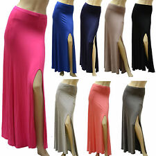 Women Ladies Long Open Side Split Front Fitted Stretch Casual Gypsy Maxi Skirt