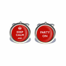 Stag Do, Birthday Keep Calm and Party On Cufflinks with Personalised Engraved Gi