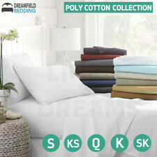 ALL SIZE POLY COTTON SHEET SET PLAT FITTED SHEET  PILLOWCASE BEDDING QUEEN KING