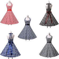 Vintage Chic Pattern 50s 60s Rockabilly Bandage Halter Tea Party Summer Dress RE