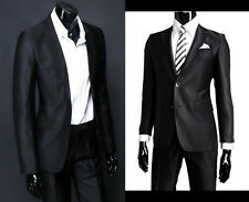 Fashion Mens Cashmere Blend One Button Wedding Bestman Suits Jacket Pants Black