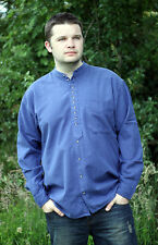 Traditional  Grandfather Style  Collarless Linen Shirt from Ireland