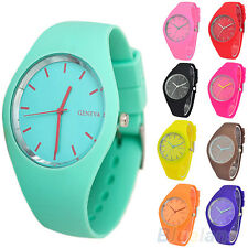 Womens Trendy Super Soft Jelly Silicone Sports Watch Students Wrist Watch B77K