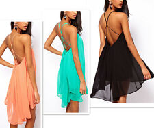 Sexy Women Backless Chiffon Strapless Party Evening Clubwear Cocktail Mini Dress