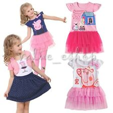 Peppa Pig Girls Baby Kid Princess Top Shirt Tiered Tutu Dress Tulle Clothes 2T-6