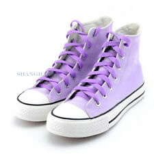 Men Women High Top Trainer Boots Shoes Canvas Sneaker Plimsoll Skate Pump Purple